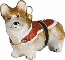 Pembroke Welsh Corgi Santa Paws Dog Polish Glass Christmas Ornament Decoration