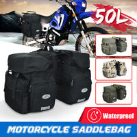 50L Canvas + PU Leather Motorcycle Pannier Side Bags Luggage SaddleBags