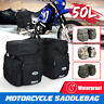 50L Canvas + PU Leather Motorcycle Pannier Side Bags Luggage SaddleBags Bike