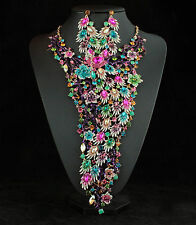Giant Beauty Queen Peacock Multi-Color Rhinestone Necklace Earrings Set N11935m