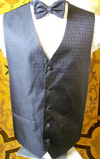 NICOLE MILLER Formal Period Style Black Fancy Vest With Matching Bow Tie L (42)