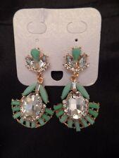 New Costume Jewelry Earrings Gold Tone Faux Jade Crystal Art Deco Drop Stunning