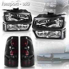 for 2003-2006 Chevy Silverado 1500 2500 2500HD Headlights + SMOKE Tail Light Set