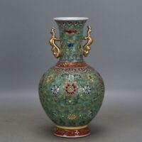 "9.9""China Jingdezhen Famille Rose Porcelain Gild Flowers and Plants Two Ear Vase"