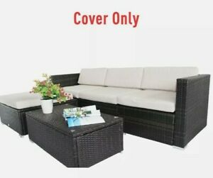 + Outdoor Rattan Furniture Cushion Cover Replacement Set, 7 pcs-Cream 4:21