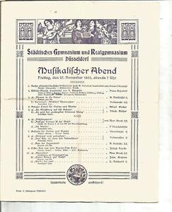 Programmheft Musikalischer Abend Städtisches Gymnasium Düsseldorf 1903