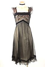 Nataya Dress Sale Vintage Style short sleeves Empire Waist Black Embroidered S