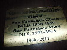 Candlestick Park Stadium seat Plaque Home Of Niners , Giants