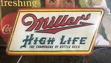 Rare 1950's  Miller High Life The Champagne of Beer Sign Light-up With Original