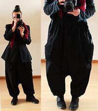 BLACK LINEN BAGGY PANTS TROUSERS Plus Size 16 18 20 22 Harem Lagenlook 2 POCKETS