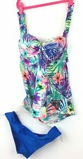 New listing Collections by Catalina Sz M Tankini Swimsuit Top Floral Bottoms Blue
