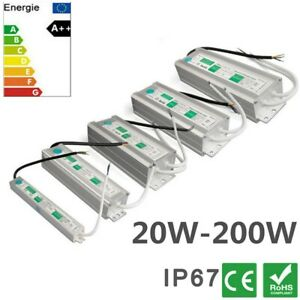 20-200W LED Trafo Transformator Netzteil IP67 12V Wasserdicht für LED Strip DHL