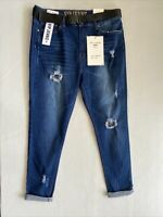 VIP Jeans Skinny Destroyed DARK WASH Stretch Pants Size 15 32 With Belt NEW NWT