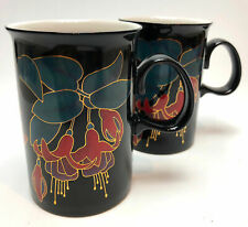 Set of 2 Dunoon Eden Fuchsia Flowers Coffee Tea Mugs Cups Ruth Boden 10 oz