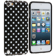 Black Mini Polka Dot TPU Case Cover for iPod Touch 5th Generation 5G