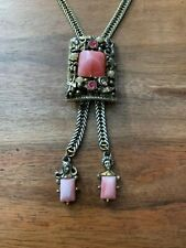 Vintage Unsigned Selro Pink Stone Bolo Slide Herringbone Necklace