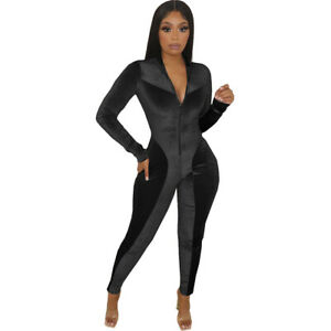 Fashion Women's Solid Long Sleeves Zipper Patchwork Bodycon Velvet Jumpsuit Club