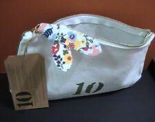 "Clarins - White / Green Cosmetics Bag - 9 x 5 x 2 "" - New"