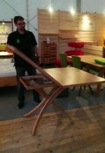 Verstell-Tisch Varina, Eiche, höhenverstellbar, Platte klappbar 100 x 75/150 cm