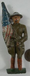 1930's Cast Iron Grey Iron Soldier Flag Barrier #1