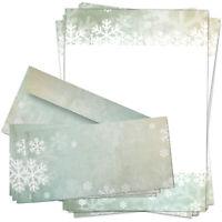 10 Weihnachtspapier mit Umschlag Schneeflocke Türkis, Papier Weihnachten Set