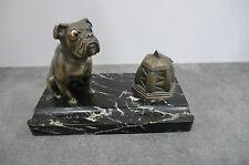 encrier porte rayon régule et marbre - chien bulldog anglais yeux en verres