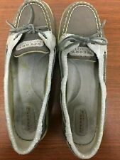 Sperry Womens Angelfish Sparkle Suede Top Sider Boat Shoes Slip On Grey Taup 8.5