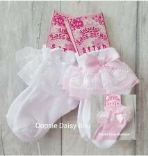 Baby Girls Gorgeous Ribbon & Lace Frilly Ankle Socks ☆ Newborn upto 18mths ☆