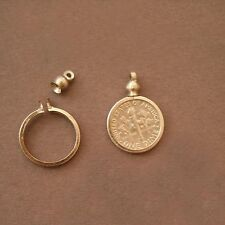 Dime USA / 10 cent Coin Holder Bezel Silver Tone charm, necklace, pendant Pk/10