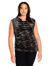 Top 3X Plus Calvin Klein $80 NWT Cowl Neck Black Sleeveless Velvet  MC907
