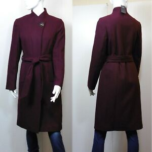 M&S Soft Touch BELTED Funnel Neck COAT ~ Various Sizes ~ BERRY (rrp £59)
