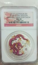 CCY~ 1OZ MS70 2012 $1 SILVER RED DRAGON DOLLAR AUSTRALIA Highest Grade UNC!BU!!!