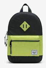 New Herschel Heritage Kids School Backpack Reflective Black & Lime Green