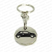 Fiat 500 Shopping Trolley Coin Keychain - New UK £1 Token Metal Keyring Gift
