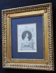 Original drawing Laura de Noves of Petrarch by Auguste Hervieu Gilt Frame