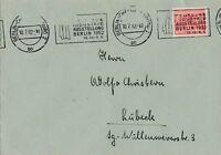 Briefumschlag verschickt von Berlin nach Lübeck Jahr 1952 Industrieausstellung