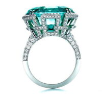 Antique 925 Silver Emerald Gemstone Wedding Engagement Ring Jewelry Size 6-10