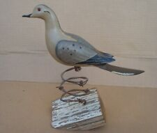 Vintage Paul Arness Hand Carved Morning Dove On Barb Wire Stand *Excellant Cond*