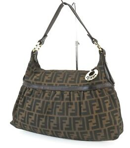 Authentic FENDI Brown Zucca Canvas and Leather Tote Hand Bag Purse #40726