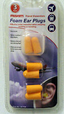 PACK OF 3 FOAM EAR PLUGS TO REDUCE NOISE, HELP SLEEPING, TRAVEL ESSENTIALS