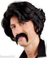 Mens 70s Chuck Anchorman Fancy Dress Costume Black Pimp Wig And Moustache Tash