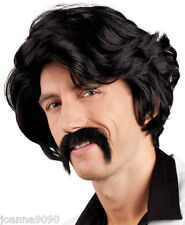 Mens 70s Chuck Anchorman Fancy Dress Costume Black Pimp Wig And Moustache Tash