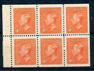 Weeda Canada 306b VF MNH booklet pane of 6, 4c orange vermilion CV $7
