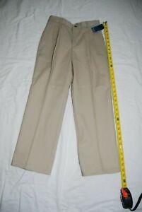 NEW Nautica Boy's School Uniform Pleated Pants Size 10 Adjustable Waist Khaki