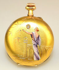 ANTIQUE 12K GOLD ENAMEL DIAMOND ART DECO WOMAN LADIES FRENCH POCKET WATCH AS IS