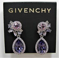 Givenchy Multi Crystal Purple Teardrop Silver Tone Drop Earrings MSRP $58