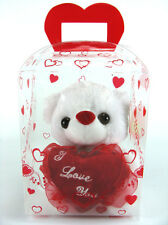"Celebratory 6"" I LOVE YOU White Teddy Bear Plush with Gift Box Set New!"