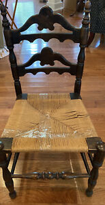 """Antique Hand Carved Dark Wood and (Cane Rush Seat-Needs Repair) CHAIR 35"""" Back"""