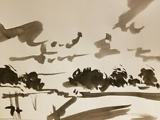 JOSE TRUJILLO - ABSTRACT Impressionism Black INK WASH on Paper Landscape Clouds