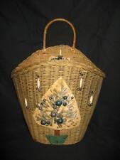 Vintage Wicker Basket Christmas Card Holder – Primitive Rustic Look – Has Handle